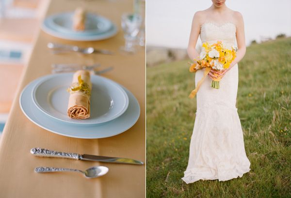 Peach Wedding Table Yellow Bouquet