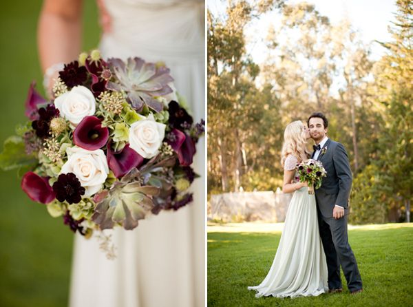 Purple Green Wedding Bouquet
