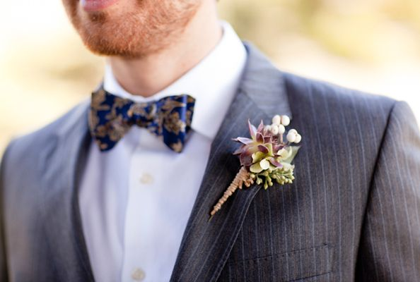 Purple Green Wedding Boutonniere