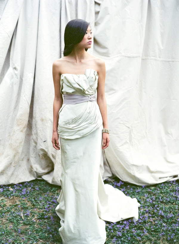 Vera Wang Grey Silk Draped Column Dress