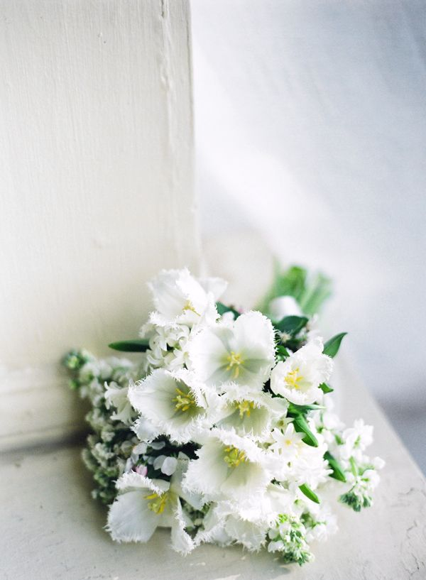 White Green Fringe Tulip Bouquet