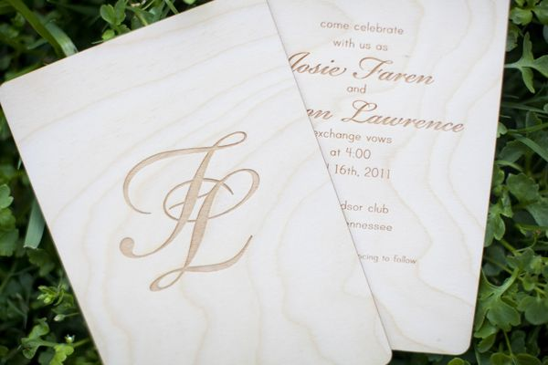 Wooden Laser Cut Invitation Front And Back