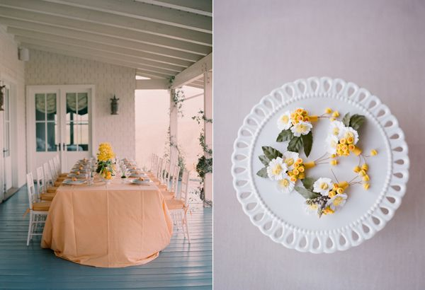 Yellow Bouts Peach Country Table