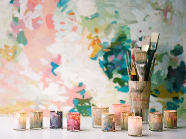 diy painted votives once wed