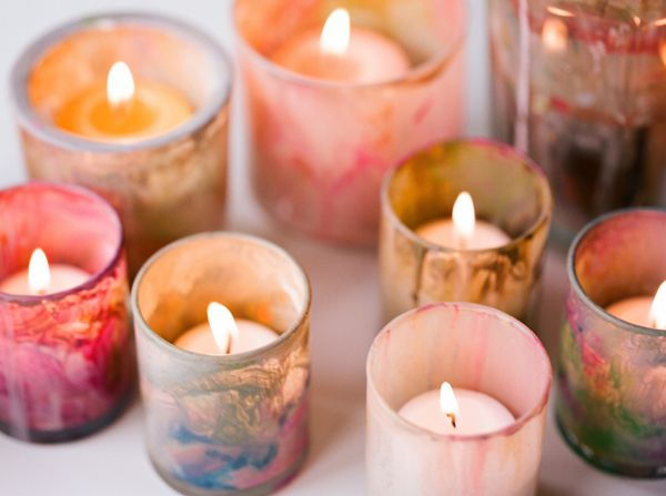DIY Painted Votives Artistic Wedding Ideas