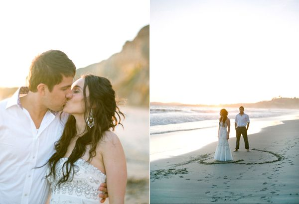 Bride Groom Kiss Beach Heart