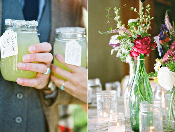 Bride Groom Mason Jars Simple Colorful Centerpieces