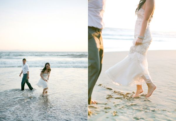 Bride Groom Playing In Ocean