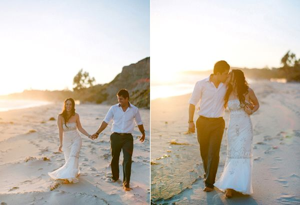 Bride Groom Walking On Beach Sunset