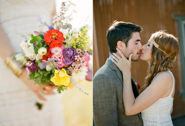 Bright Colorful Wildflower Bouquet Steamy Kiss