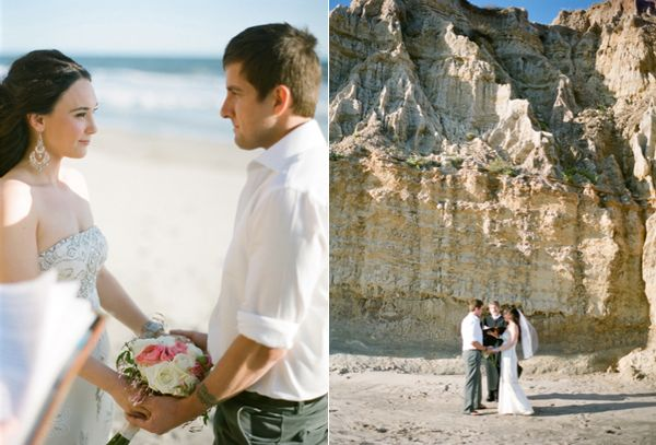 Elopement Ceremony Beach Cliffs