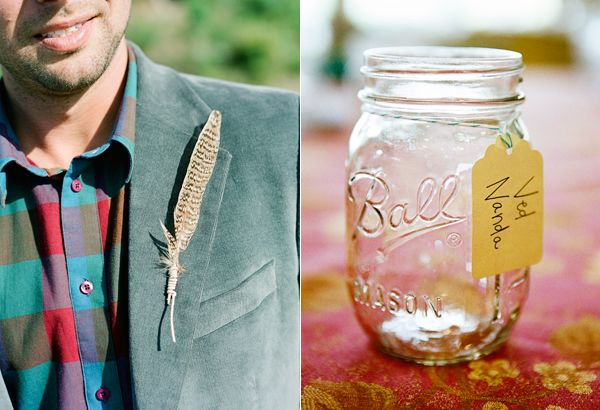 Feather Boutinere Mason Jar Name Tag