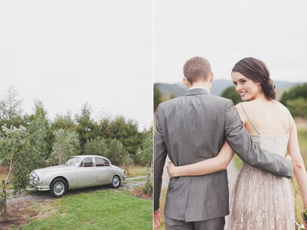 Grey Classic Car Grey Taupe Bride Groom