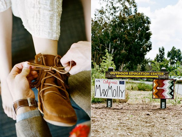 Groom Putting On Brides Shoes Wedding Signs