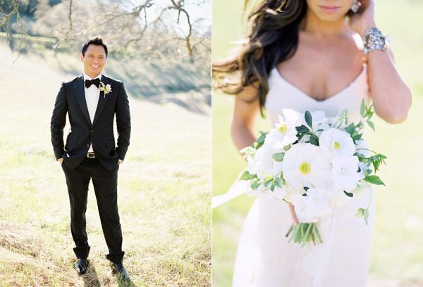 Groom Tux Outside White Bouquet