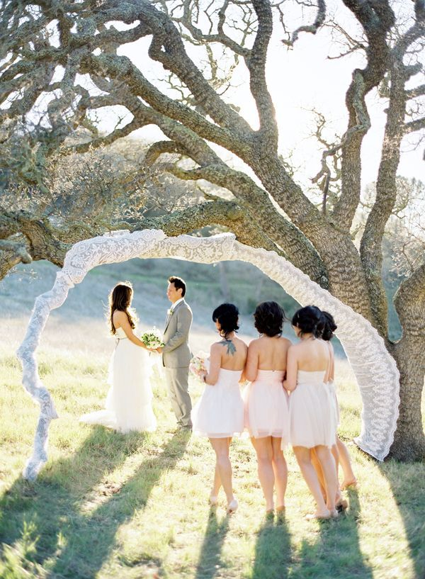 Lace Arch Oak Tree Wedding Ceremony