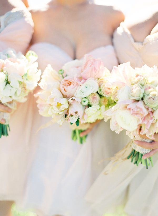 Romantic and elegant outdoor wedding once wed pink blush sarah seven bridesmaids dresses bouquets mightylinksfo