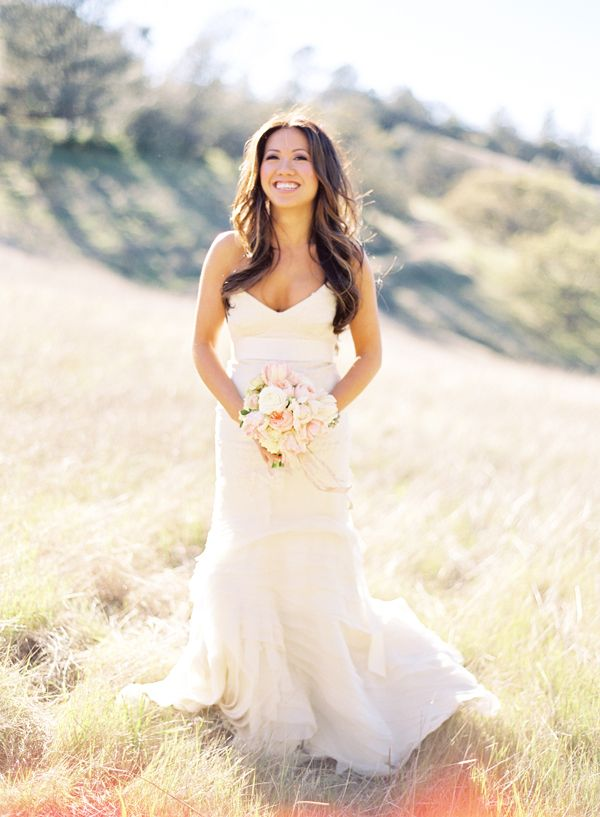 Strapless Vera Wang Layered Gown