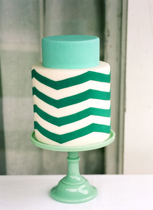 Zig Zag Cake Teal Wedding Cake
