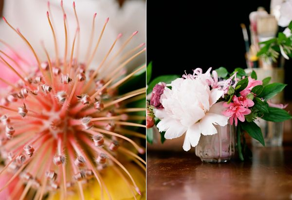 Pincushion Protea Peony Azalea Pink Coral Wedding Flowers