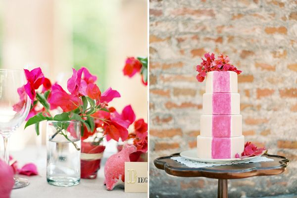 Jose Villa Mexico Workshop Pink Stripe Cake Bouganvillas