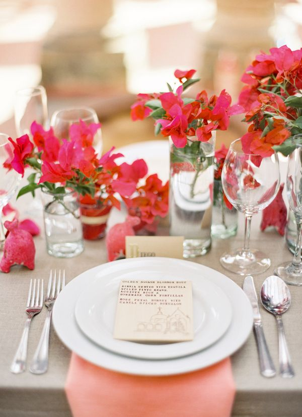 Jose Villa Mexico Workshop Red Coral Pink Bouganvilla Tablescape