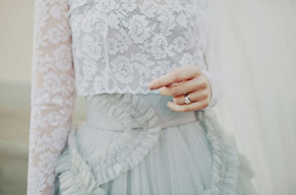 Blue Grey Tulle Ruffle Wedding Dress Lace Top