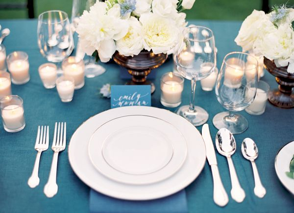 Blue White Tablescape Formal Classic Wedding