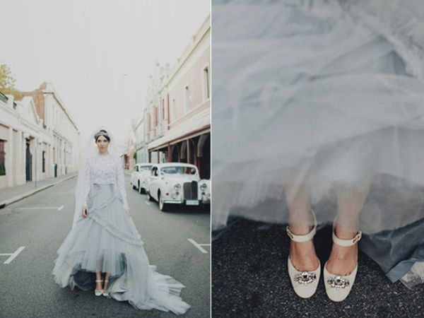 Bride Blue Grey Tulle Wedding Dress