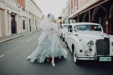 Bride Blue White Tulle Classic Car