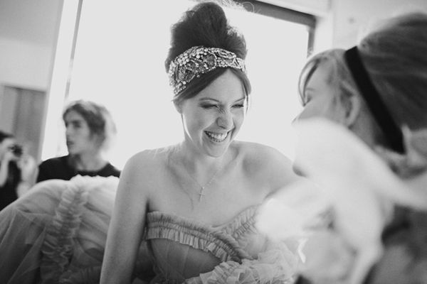 Bride Getting Ready Sparkly Headpiece