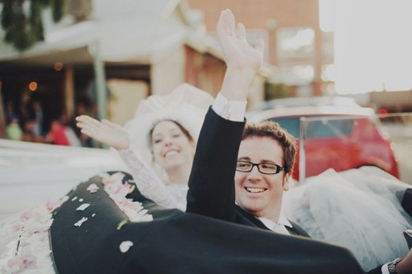 Bride Groom Waving Goodbye Classic Car