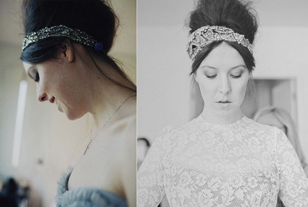 Bride Sparkly Headpiece Beehive Lace Grey