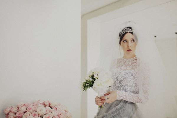 Bride Veil Lace Grey Dress Roses Peonies