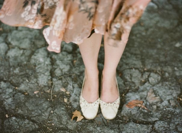 Brown Floral Dress Flats