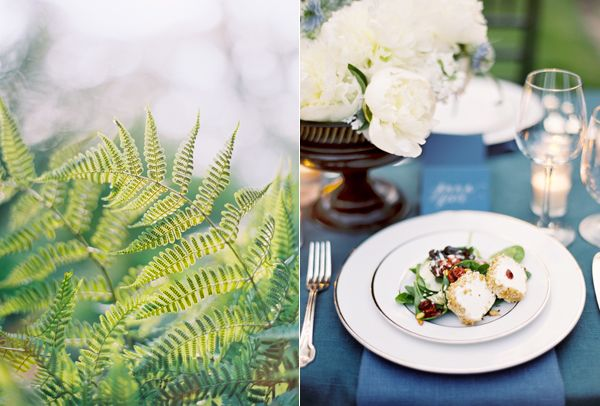 Ferns Plated Dinner Blue Linens