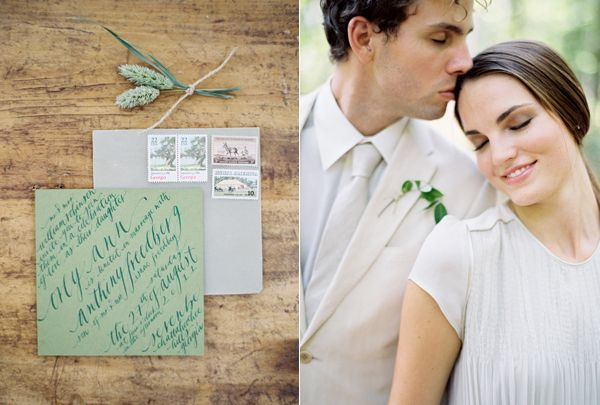 Green Calligraphy Wedding Invitation
