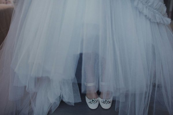 Grey Tulle Wedding Gown White Shoes