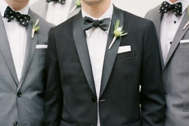Groom Groomsmen Black Tux Grey Suits