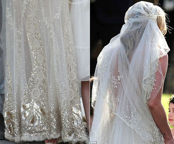 Kate Moss Wedding Dress Gown Veil Detail