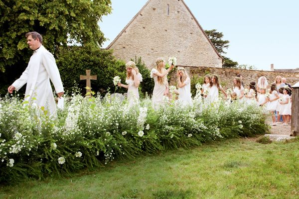 Kate Moss Wedding Party Entering Church English Village