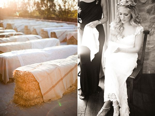 Linen Covered Hay Bales Wedding Ceremony Seating