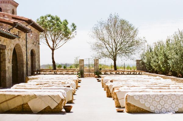 linen-lace-covered-hay-bales-wedding-ceremony-seating - Once Wed