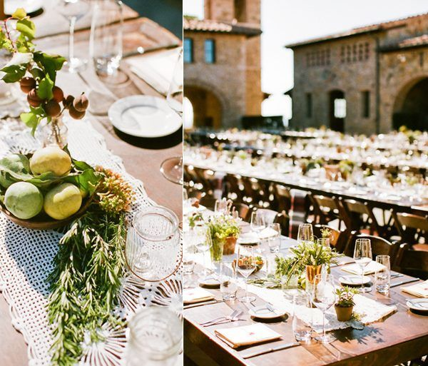 Natural Wedding Reception Decor Old California Tuscany Fruit Herbs