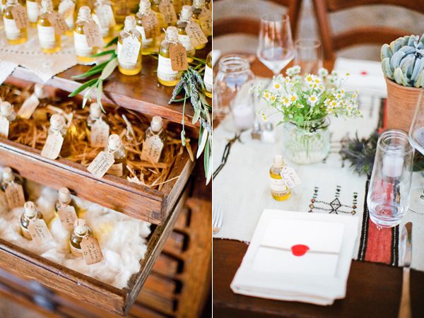 rustic-wedding-reception-place-setting-olive-oil-favors - Once Wed