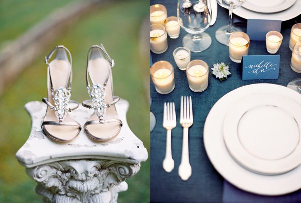 Sparkly Strappy Heels Navy Blue Tablecloth