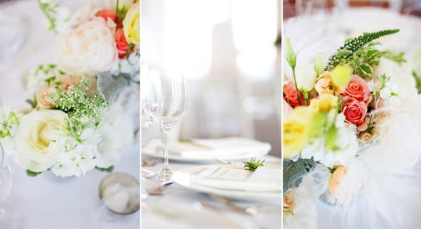 Yellow Peach Wedding Centerpieces
