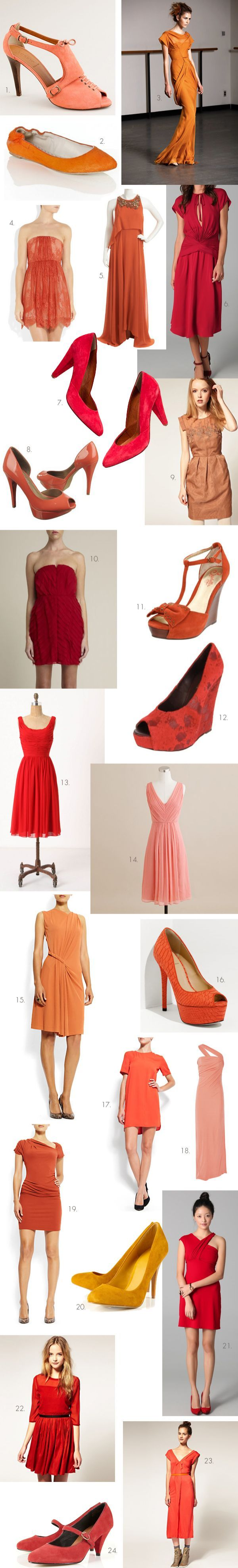 Red Orange Coral Bridesmaid Dresses Shoes