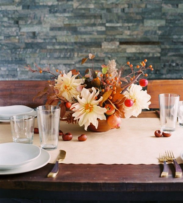 Casual Fall Wedding Floral Centerpiece