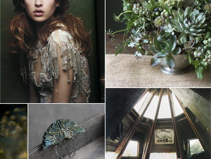 Forest Green Fall Winter Bohemian Wedding Ideas